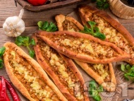 Пиде екмек - Турска пица с телешка кайма и кашкавал